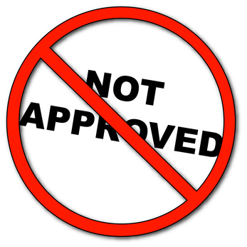 not approved symbol with words not approved