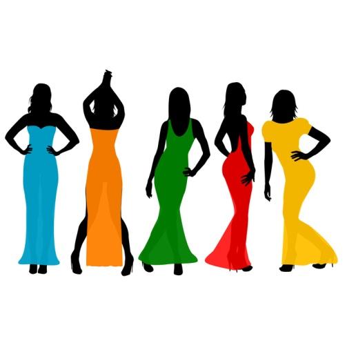 Women wearing colorful long dresses