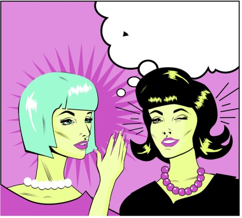 informer Clipart Illustration of Two Gossiping Retro Women banne