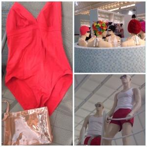 """Maîtres-nageurs et nageuses au rayon """"bain"""" du Bon Marché"""